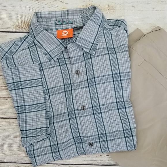 Merrell Other - Merrell Grey Plaid Short Sleeve Button Down